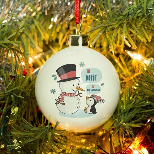 Personalised Mr Snowman Bauble